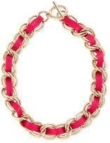 Rebecca Minkoff The Hepburn Woven Chain Necklace, Bright Pink