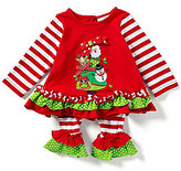 Rare Editions Baby Girls 3-24 Months Christmas Critters Appliqued Mixed-Media Top and Striped Leggin