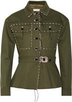 Altuzarra Snake-effect Leather-trimmed Stretch-cotton Gabardine Jacket - FR40