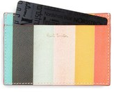 Paul Smith Men's Stripe Leather Card Holder - Blue