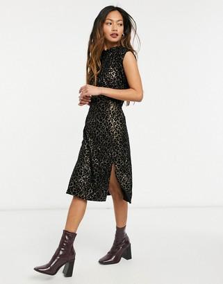 ELVI thigh split dress in leopard print burnout