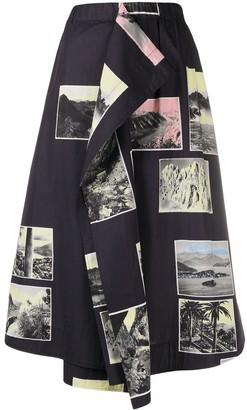 Cédric Charlier patch-work flared midi skirt