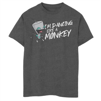 Licensed Character Boys 8-20 Nickelodeon Invader Zim Gir I'm Dancing Like A Monkey Portrait Graphic Tee