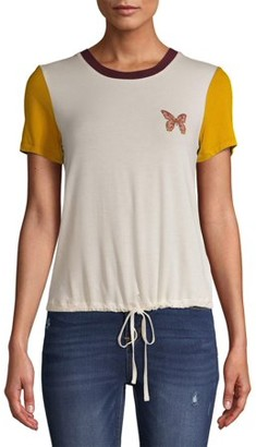 No Boundaries Juniors' Cinched Waist Colorblocked T-Shirt