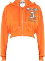 Moschino Printed hooded cotton sweatshirt with zip