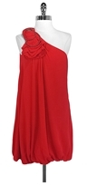 BCBGMAXAZRIA Red 1 Shoulder Bubble Hem Dress