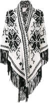 Antonia Zander fringed shawl with embroidered print