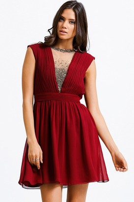 Little Mistress Cherry Pink Mesh Embellished Prom Dress- Need Corrected Images