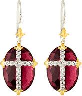 Jude Frances Oval Quartz Doublet Dangle & Drop Earrings w/ Pave Cross, Pink