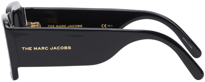 Thumbnail for your product : Marc Jacobs Black 'The Logo' Rectangular Sunglasses