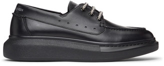 Alexander McQueen Black Leather Boat Shoes