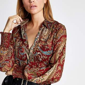 River Island Womens Red print long sleeve embellished sheer shirt