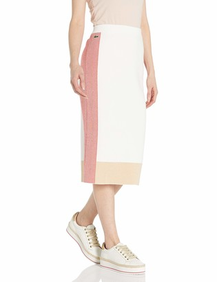 Lacoste Women's Box Stripe Colorblock Midi Sweater Skirt