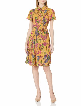 Nanette Nanette Lepore Women's Flutter Sleeve Pintuck Shirtdress W/Self Sash Belt