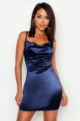 boohoo Satin Cowl Front Bodycon Dress