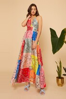 Thumbnail for your product : Little Mistress Bright Multi Patch Work Print Strappy Wrap Dress