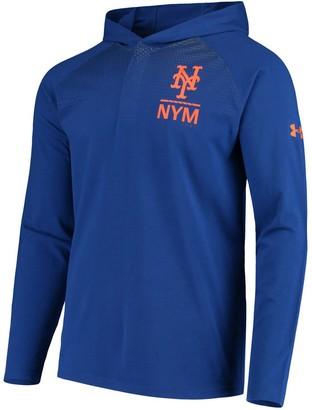 Men's Under Armour Royal New York Mets Henley Performance Raglan Tri-Blend Pullover Hoodie