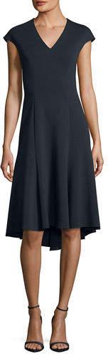 Elie Tahari Moriah V-Neck A-Line Dress
