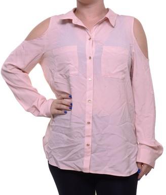 Calvin Klein Women's Long Sleeve Cold Shoulder Button Down Top