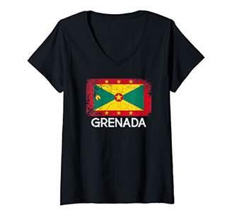 Womens Grenadian Flag Design | Vintage Made In Grenada Gift V-Neck T-Shirt