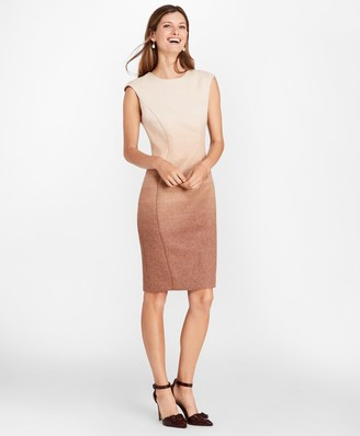 Brooks Brothers Petite Ombre Wool-Alpaca-Blend Sheath Dress