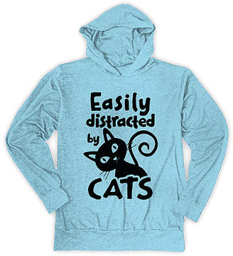 Urban Smalls Girls' Sweatshirts and Hoodies Heather - Heather Light Aqua 'Easily Distracted by Cats' Lightweight Hoodie - Toddler & Girls