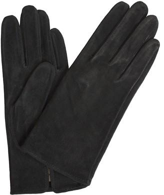Dents Ladies Short Classic Plain Soft Suede Gloves (Black Large)