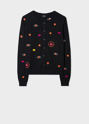 Paul Smith Women's Black Embroidered 'Galaxy' Cotton And Wool-Blend Cardigan