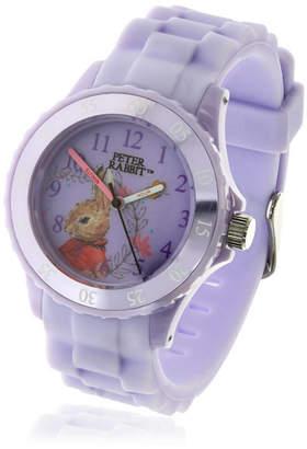 Beatrix Potter Children Flopsy Bunny Time Teacher Light Purple Silicone Strap Watch
