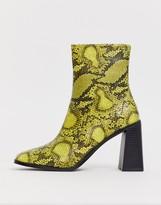 Raid RAID Ziva lime snake heeled ankle boots