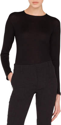Akris Round-Neck Long-Sleeve Cashmere-Silk Knit Tunic