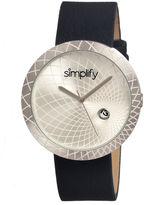 Simplify Mens The 1800 Silver Dial Leather-Band Watch With Date Sim1801