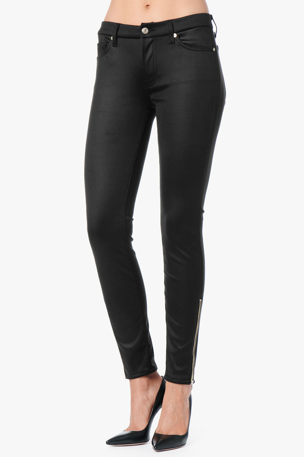 """7 For All Mankind The Double Side Zip Ankle Skinny In Black Stretch Satin (28"""" Inseam)"""