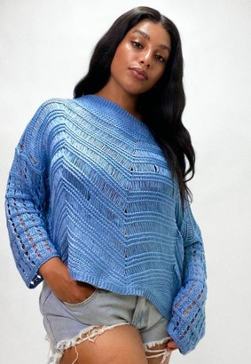 Missguided Size Blue Crochet Knitted Jumper