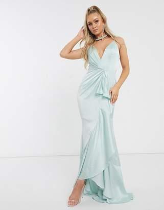 Jarlo Bridesmaid plunge ruffle maxi dress in mint