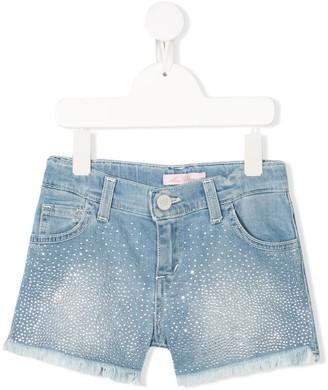 Miss Blumarine Crystal-Embellished Denim Shorts