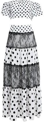 2-Piece Polka Dot Crop Top & Maxi Skirt Set