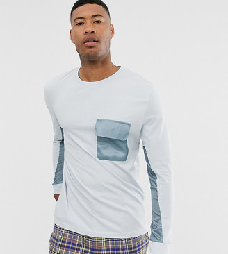 Asos DESIGN Tall relaxed long sleeve t-shirt with woven panels in blue
