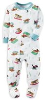 Carter's Ski Dogs Zip-Front Footed Pajama in White