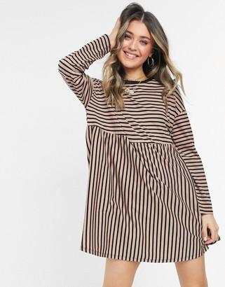 ASOS DESIGN super oversized long-sleeved smock dress in camel and black stripe