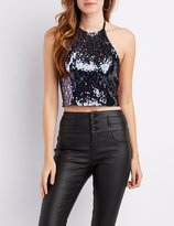 Charlotte Russe Sequins Halter Neck Crop Top