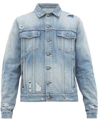 Balmain Distressed Logo Embroidered Denim Jacket - Mens - Blue