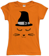 Urban Smalls Black & Orange Witch Cat Fitted Tee - Toddler & Girls