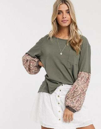 Free People Jade floral sleeve top-Green