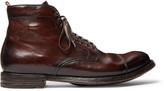 Officine Creative Anatomia Cap-Toe Distressed Leather Boots