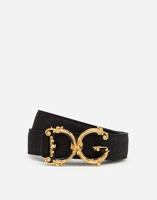 Dolce & Gabbana Lame Belt With Baroque Logo