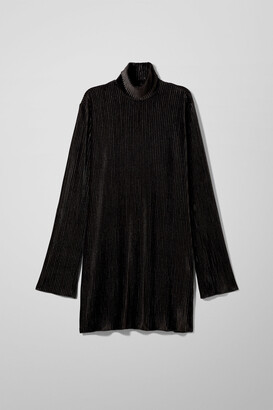 Weekday Ada Velvet Dress - Black