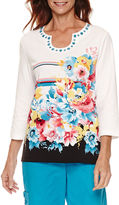 Alfred Dunner Tropical Vibe3/4 Sleeve Floral Stripe Top