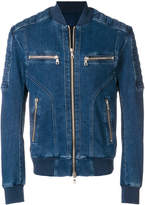 Balmain quilted zipped denim jacket