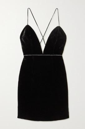 Michael Lo Sordo Crystal-embellished Velvet Mini Dress - Black